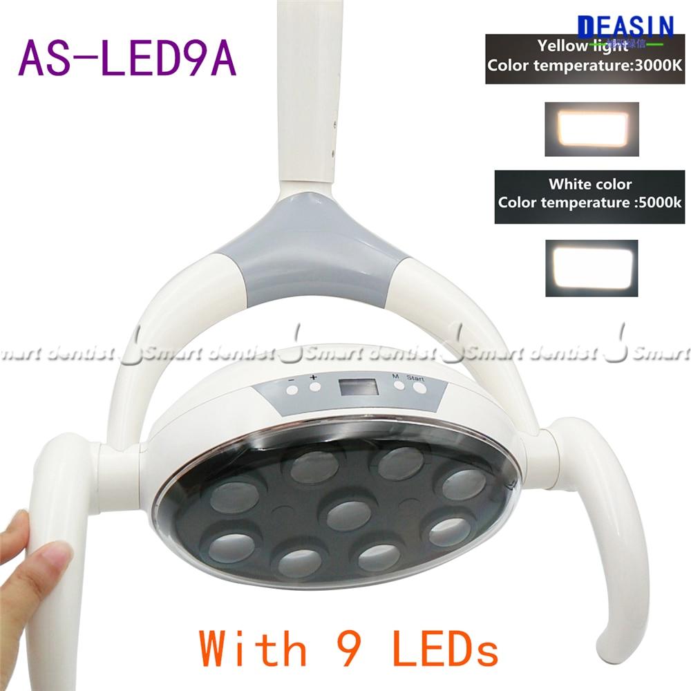 Bonne Qualité 9 Led dentaire lampe avec Capteur Oral Lampe De Lumière couleur température réglable Président Unité Dentaire implant lampe de chirurgie