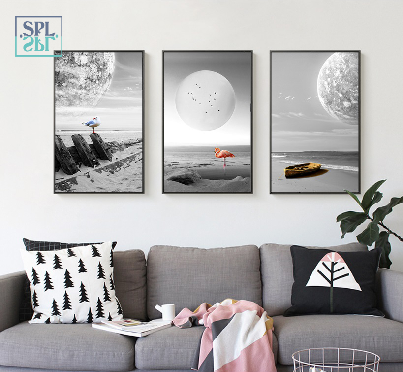 SPLSPL Nordic Black And White Flamingo Modular Picture Wall Art Canvas Print Paintings For Living Room Decor No Frame