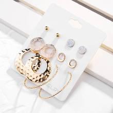 5pairs Retro Golden Big Circle Oversize Earring Set For Women Vintage Wide Statement Hoop Ladies Jewelry Wholesale 2019