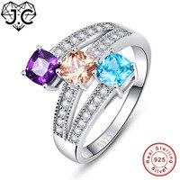 JC Đáng Yêu Morganite Amethyst Màu Xanh Hồng Của Ruby Garnet Topaz Rắn 925 sterling silver Ring Kích 6 7 8 9 Đối Với Phụ Nữ Fine đồ trang sức