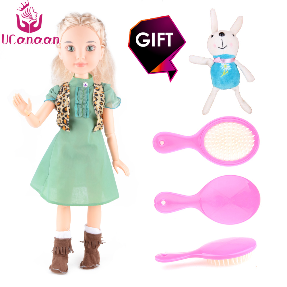 UCanaan Dolls 18 45cm Princess Girl Doll 14 Joint Moving Body Realistic Toys Birthday Gift As American Sweet Girl Gifts DIY 18 american girl dolls princess dolls toys for girls children birthday gift 45cm girls doll with clothes and headdress