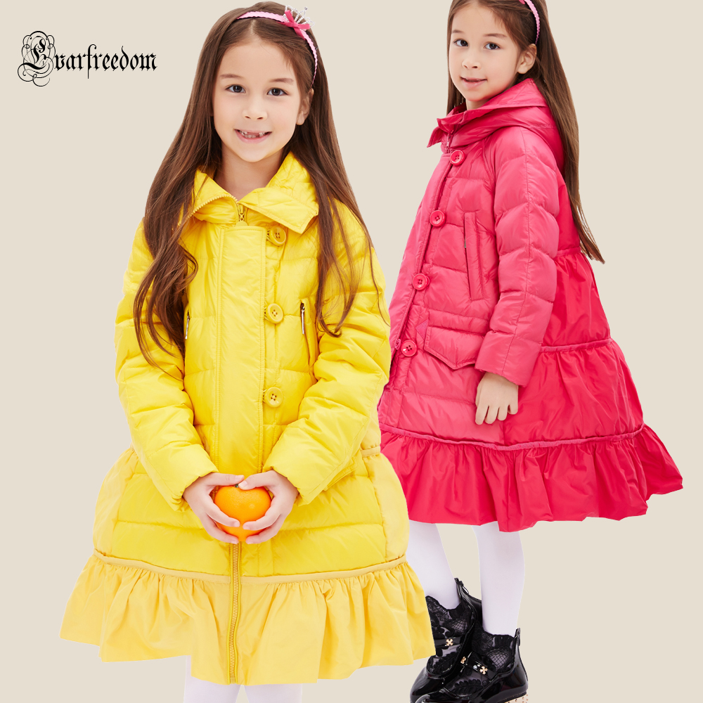 Hooded 2016 Winter Jacket Girls down coat child down jackets girl duck down long design loose coats children outwear overcaot 100% white duck down women coat fashion solid hooded fox fur detachable collar winter coats elegant long down coats