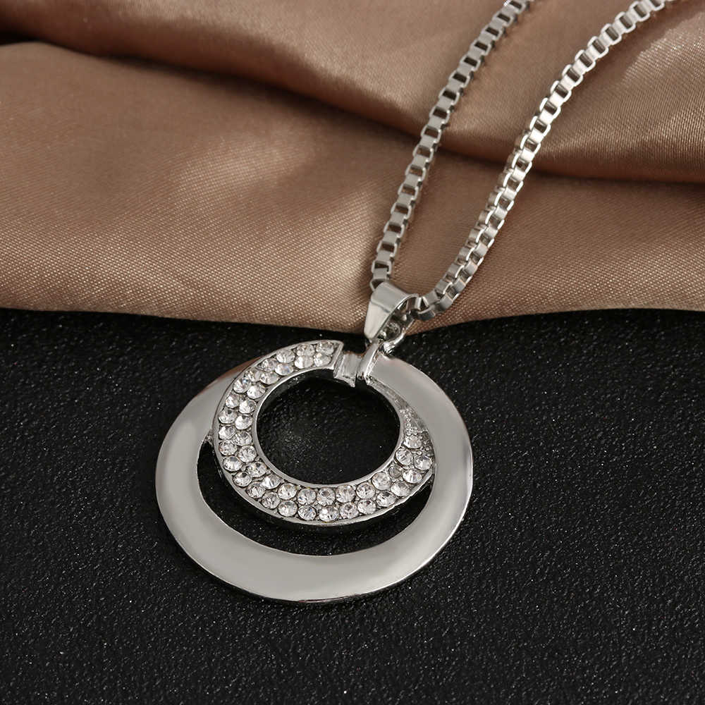 1PC élégant cristal strass tour de cou argent plaqué longue chaîne pendentif collier bijoux cadeaux accessoires pour les femmes