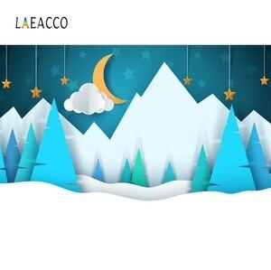Image 1 - Laeacco bebé Comics montaña Luna estrella nieve fiesta patrón fondos fotográficos foto telón de fondo estudio fotográfico Photocall