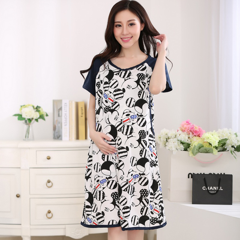 Cartoon Maternity Pajamas for Pregnant Women Short Sleeves Summer Nursing Sleepwear Breastfeeding Pajamas Maternity Dress
