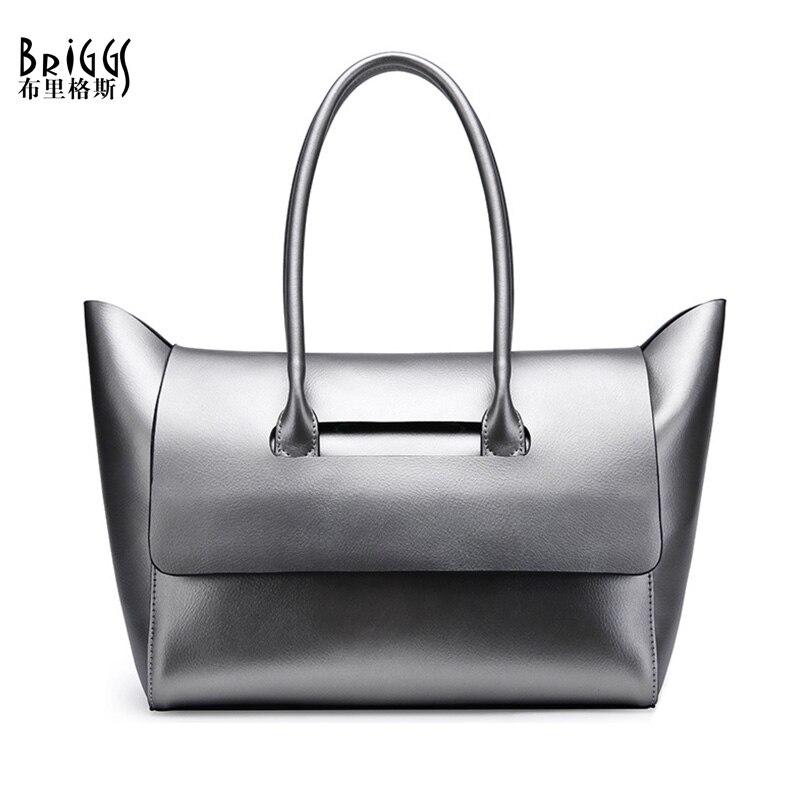 BRIGGS Brand Genuine Leather Women Handbag Fashion Composite Bag Designer Leather Women Shoulder Bag Casual Tote 2017 New