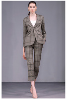 See Orange New Autumn Slim Pants Suit For Women 2018 Brand Show Plaid Blazer Suit Women Office Work SO03331