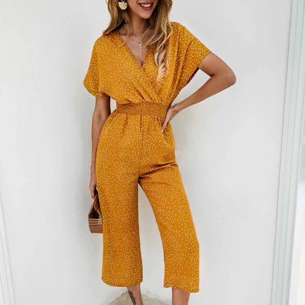 Women Print Dot Jumpsuit V-neck Sexy Jumpsuits For Women Short Sleeve Jumpsuits Casual Rompers Summer S M L XL