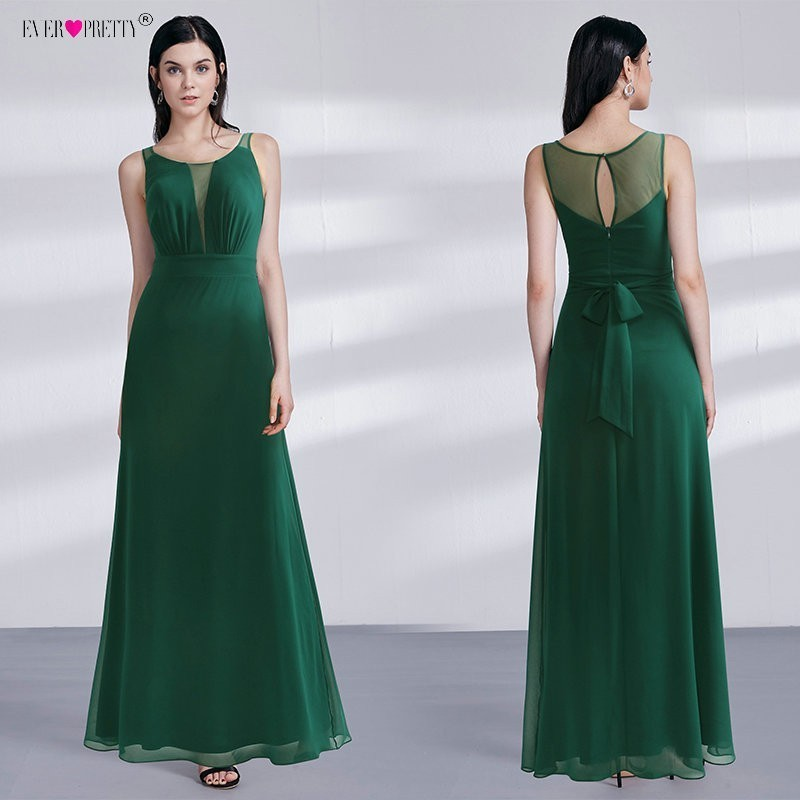 2018 Ever Pretty Prom Long Elegant Dresses Dark Green A Line