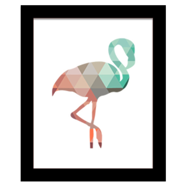 Wall Frame Colorful Bird Geometric Coral Flamingo Canvas Art Print Poster Wall Pictures for Home Decoration Frame not include