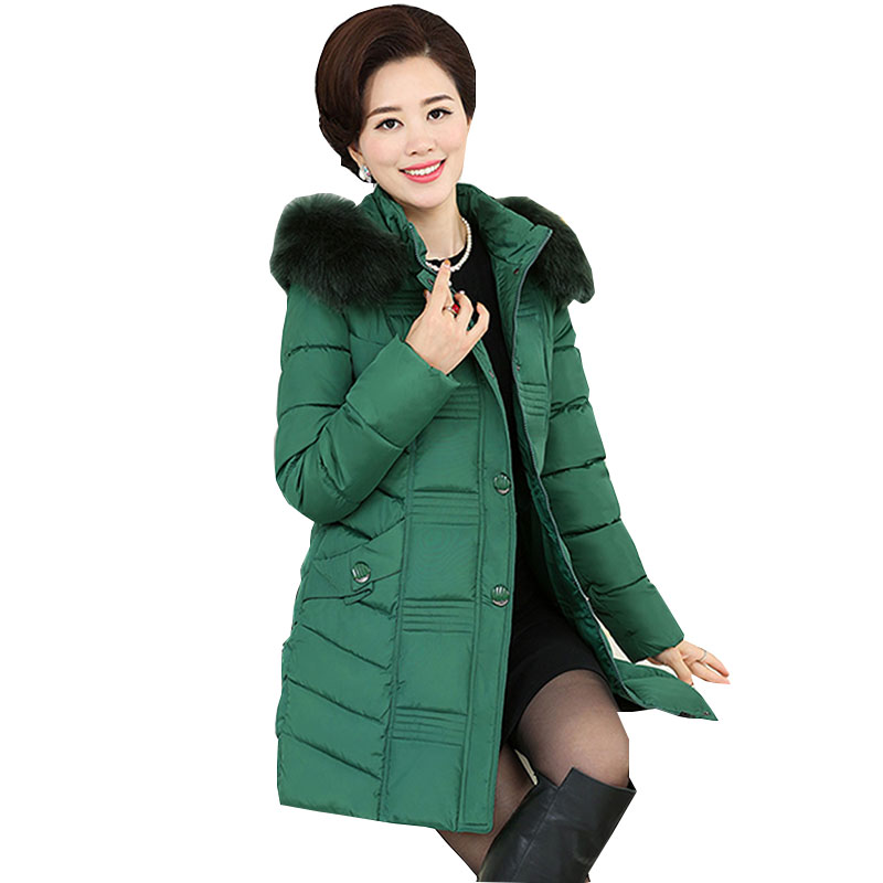 Ukraine Middle age Plus size Winter Jacket Women Coat Parkas 2017 New Fur collar Thick Quality Female Downs Cotton Jackets WZ81