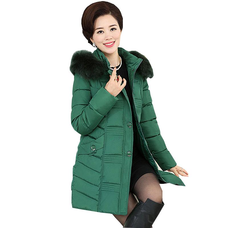 Ukraine Middle age Plus size Winter Jacket Women Coat Parkas 2017 New Fur collar Thick Quality Female Downs Cotton Jackets WZ81