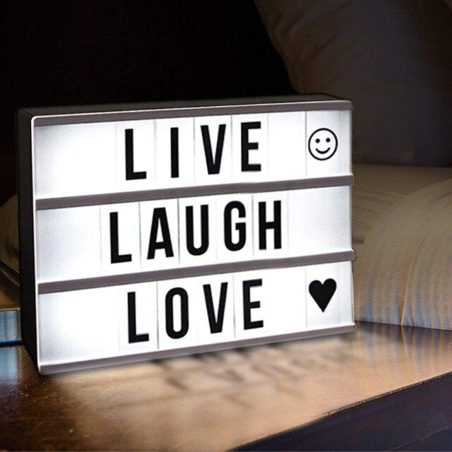 DIY 2018, caja de luz de combinación LED tamaño A4 A6, lámpara de mesa de noche, cartas negras hazlo tú mismo, caja de luz alimentada por USB