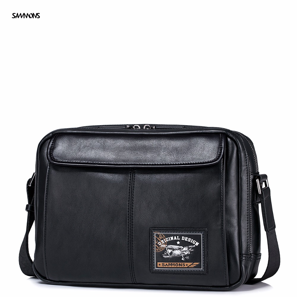 ФОТО 2017 New SAMMONS Brand Original Postman Stamp Printing Design Fashion PU Leather Men Shoulder Bag Messenger Casual Bags
