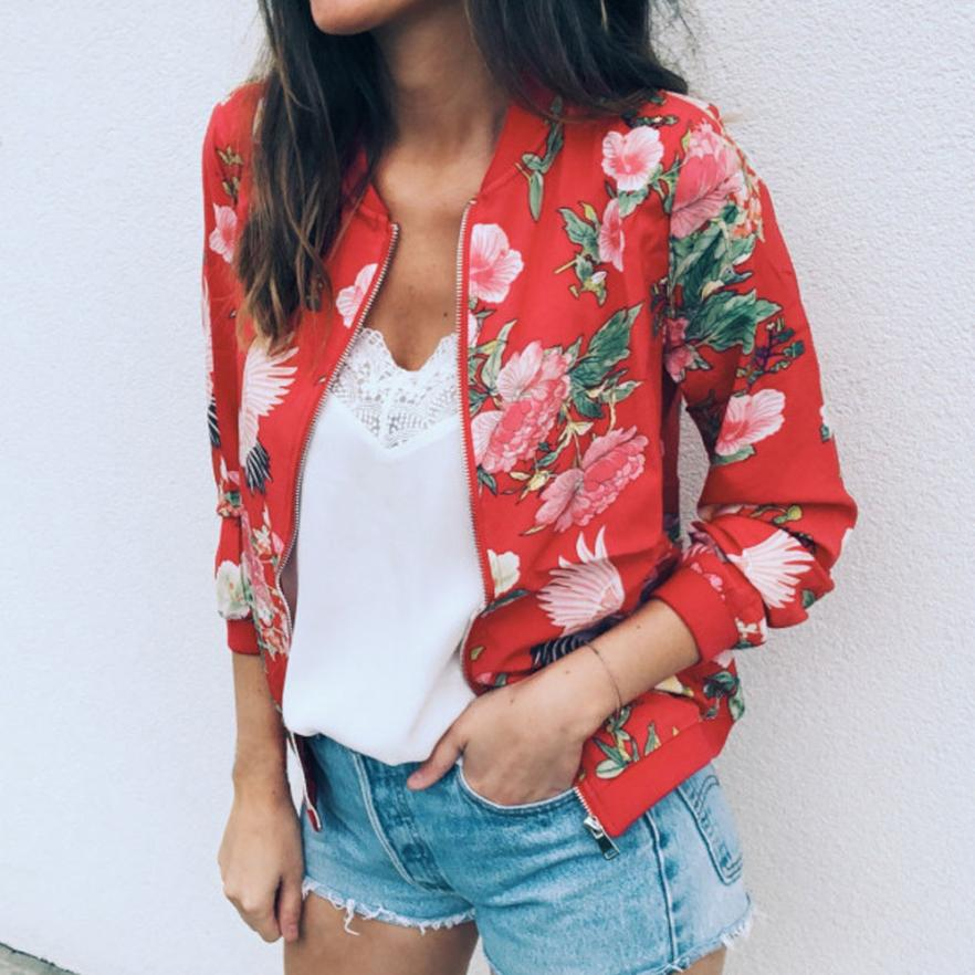 Outerwear & Coats Jackets Womens Ladies Retro Floral Zipper Up Bomber Outwear Casual coats and jackets women 18AUG10 10