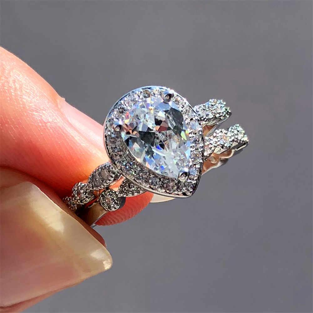 Feminino gota de água anel de casamento conjunto moda 925 prata cristal branco nupcial jóias anéis de promessa para mulher
