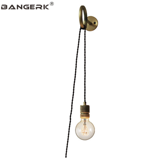 American Loft Vintage Wall Lamp Sconce Edison Iron Pull Ring DIY Bedside Wall Light For Dining Bedroom Home Decor Lighting