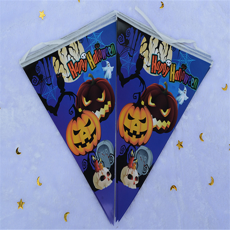 4YANG 2016 New Halloween Shop Mall Decoration Bar Flag for Halloween Triangles String Flag