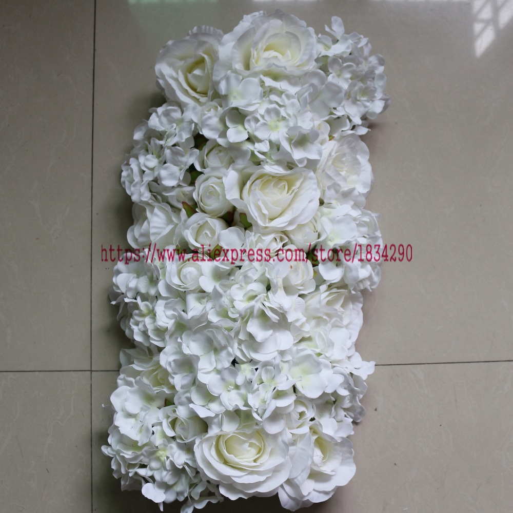 Ivory 10pcslot Wedding Decoration Artificial Silk Flowers Row