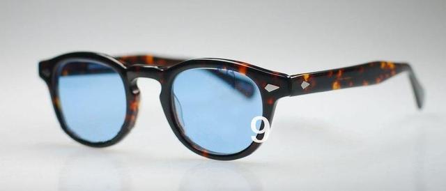 Retro Vintage Johnny óculos de tartaruga com lente Azul