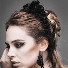 Vente chaude Gothique Cinq Roses Bande De Cheveux Femmes De Mode Diable Marque Fleur Élastique Bandeau Noir Rose Chapeaux Accessoires AS024