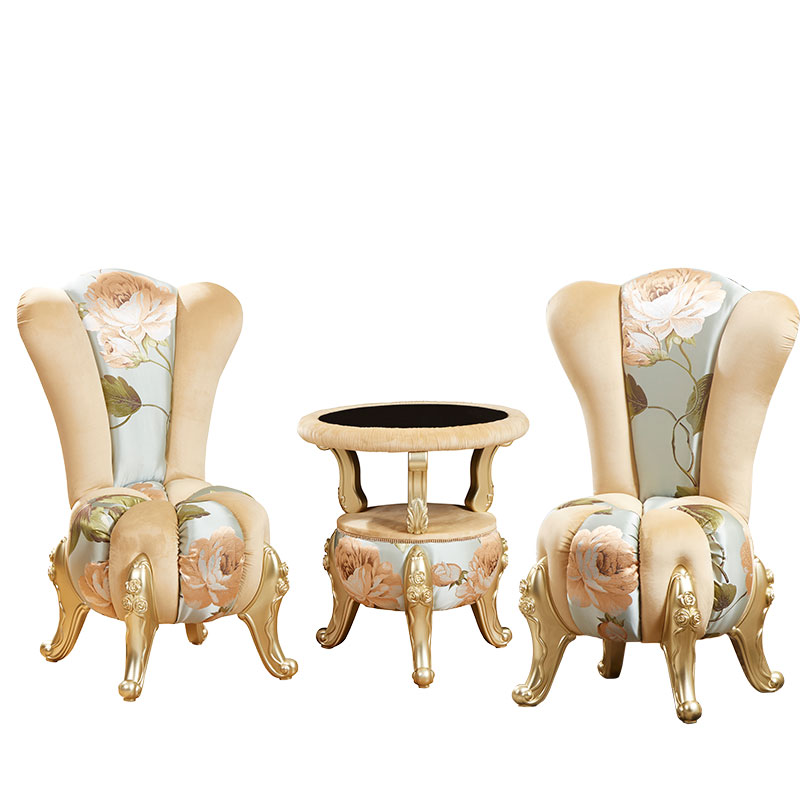 Unique Design Bumpkin European Style Fabric Leisure Sofa  Coffee Tea Table Set Chair For Bedroom Living Room ProCARE Furniture