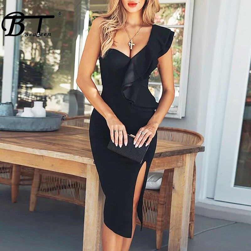Pour Spéciale Sexy Robe 2018 Mode Soirée Asymétrique Moulante Club Ruches Robes Bandage Noir Occasion Beateen De 4SqzP