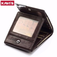 KAVIS Genuine Cow Leather Men Wallet Fashion Coin Purse Pocket Brand Trifold Design High Quality Male