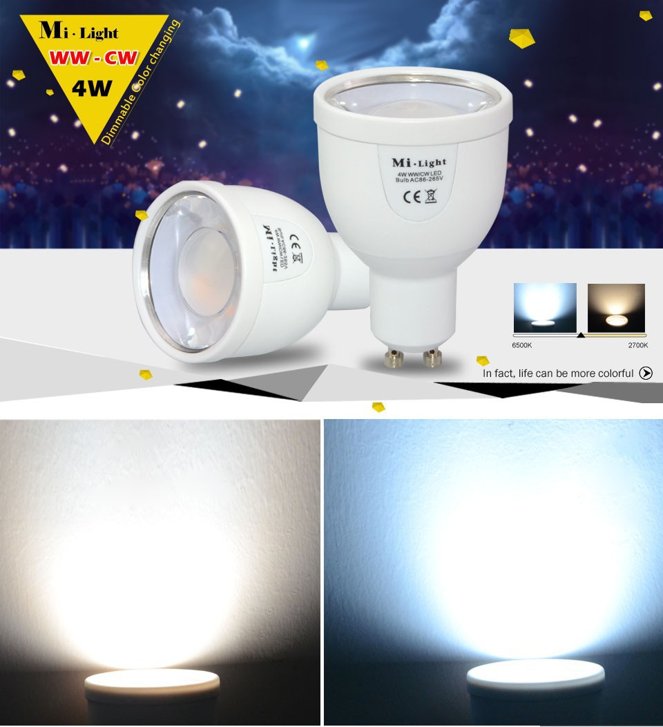 Milight 2.4G GU10 4W Wireless LED Dimmable Bablle Dual White WW/CW Dimmable LED Smart Bulb Lamp