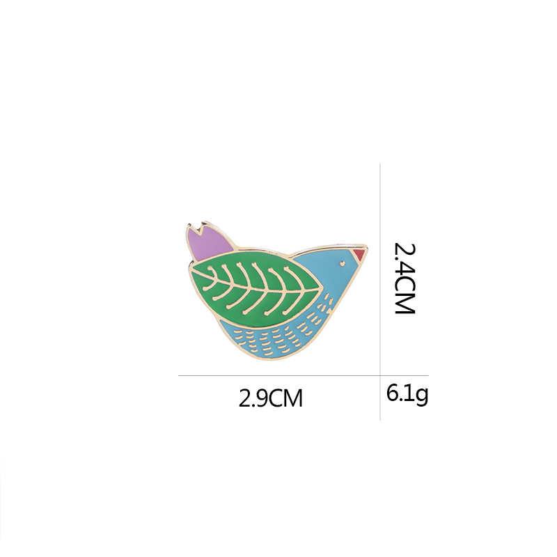 Kartun Enamel Burung Pin Kreatif Buatan Tangan Perdamaian Burung Dove Lencana Hijau Meninggalkan Sayap Bros untuk Logam Kerah Pin Serta Topi broches