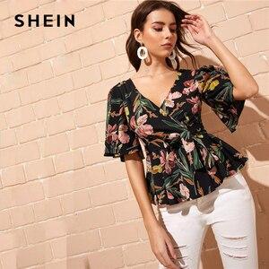 SHEIN Flutter Sleeve Wrap Belted Peplum Floral Blouse Boho H