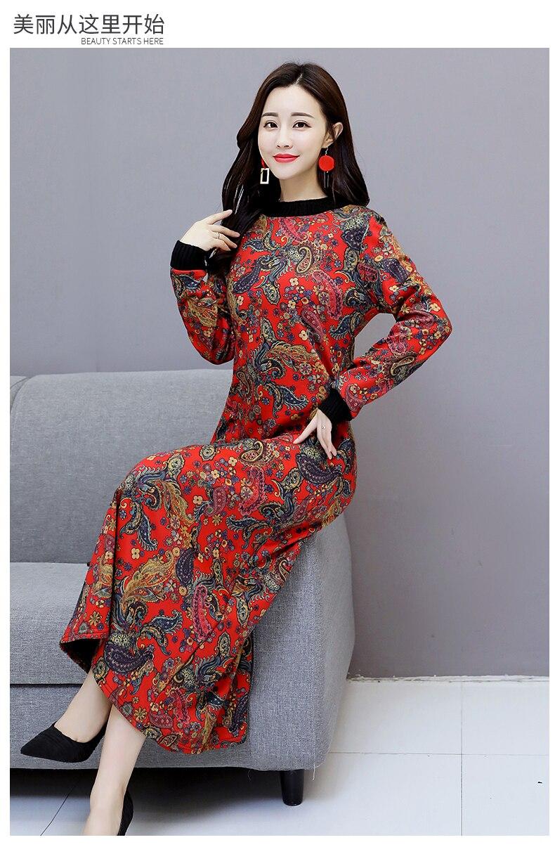 6912 Women Dress Elegant Long Sleeve Plus Size Print Vintage Velvet Warm Mom Maxi Dresses for Women Winter Dress Evening Party 2018 1