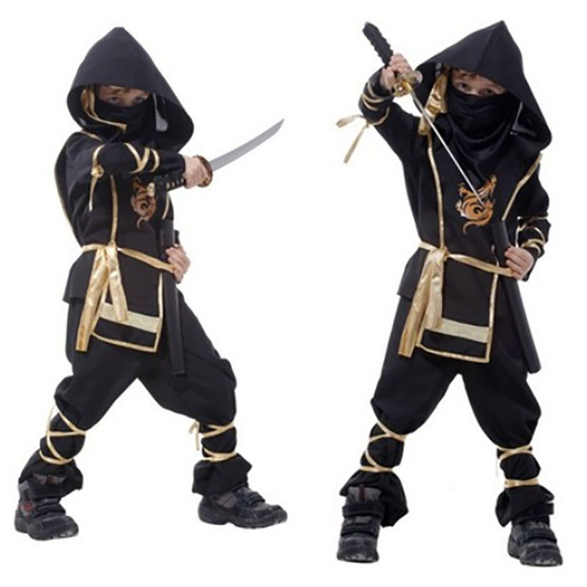 Halloween Costumes for Kids Black Warrior Suit Ninja Cosplay Party Children Fancy Horror Carnival Middle Ages Scary Costume