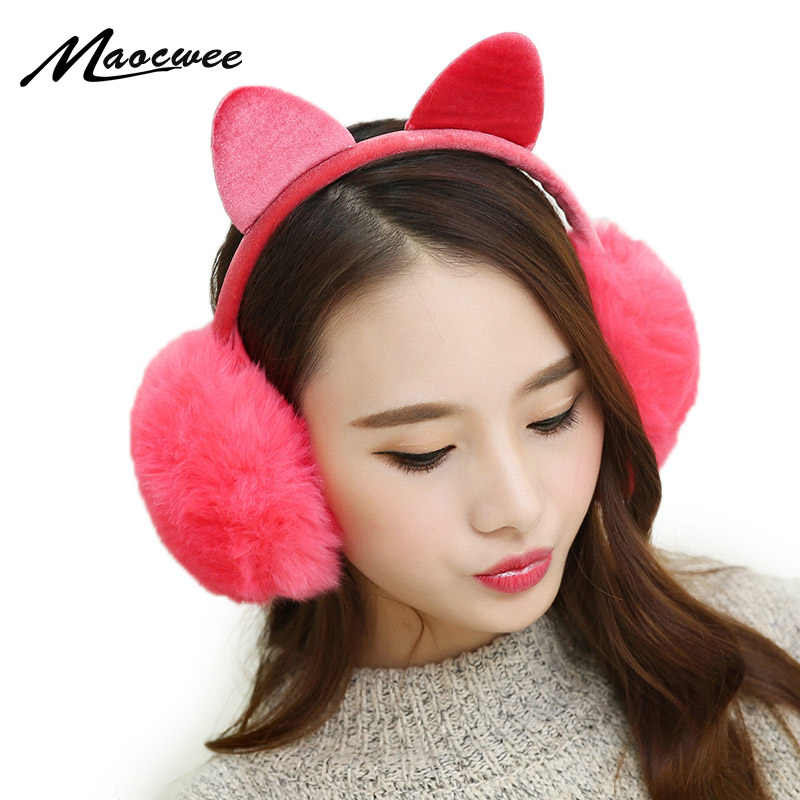Зимние осенние теплые наушники из искусственного меха милые кошачьи уши  Earflap кролик меховые наушники для девочек f2b047e9e7b73