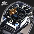 Sewor marca de topo de luxo retangular tourbillon homens relógios relógio mecânico automático relógio moda vintage relógio relogio masculino