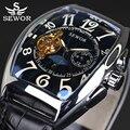 Sewor rectangular tourbillon hombres relojes de primeras marcas de lujo mecánico automático reloj de la manera de la vendimia del reloj del relogio masculino