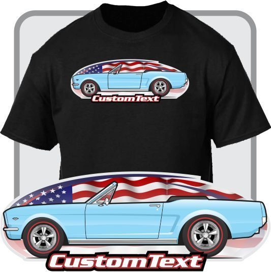 2018 Men'S Fashion Custom Art T-Shirt 1964 1/2 64 GT Mustang Convertible not affiliated with American Classic Car Fans Base Tee