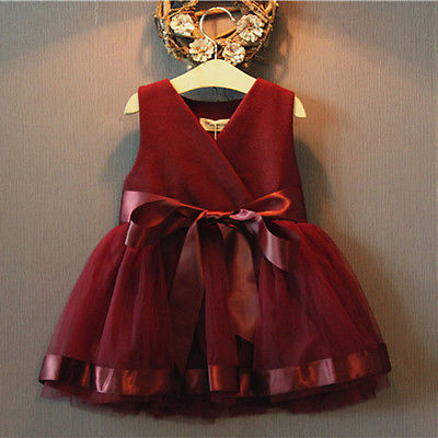 Wine Red Girls Dress Princess Pageant Princess Dresses Summer Baby Girls Party Lace Tulle Gown Formal Dresses 2-7Y коляска esspero summer line wine red sl010a 108068266
