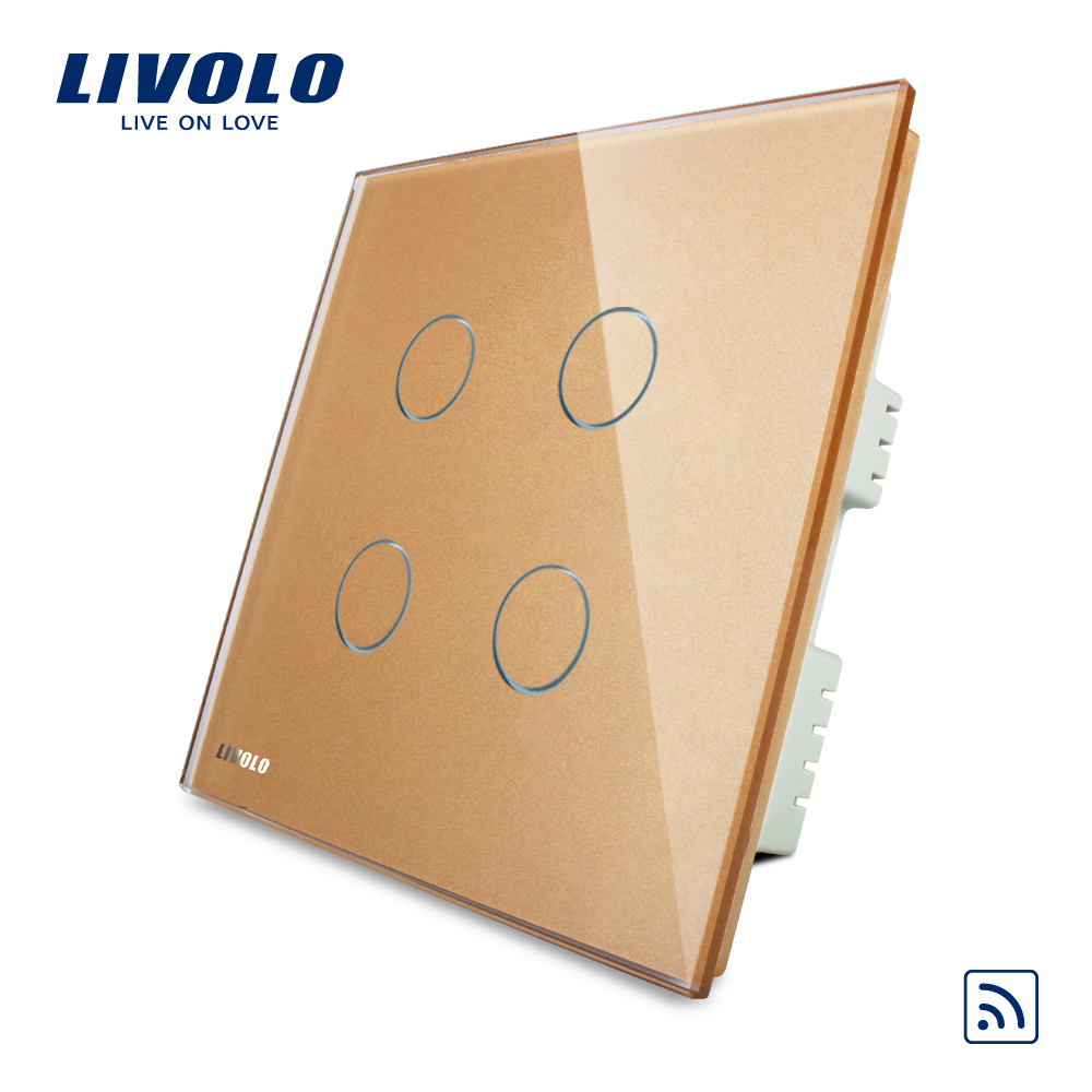 Livolo UK standard 4gang Wireless Remote Touch Switch , AC 220-250V ,Gold Crystal Glass Panel, VL-C304R-63,no remote controller 2017 smart home crystal glass panel wall switch wireless remote light switch us 1 gang wall light touch switch with controller