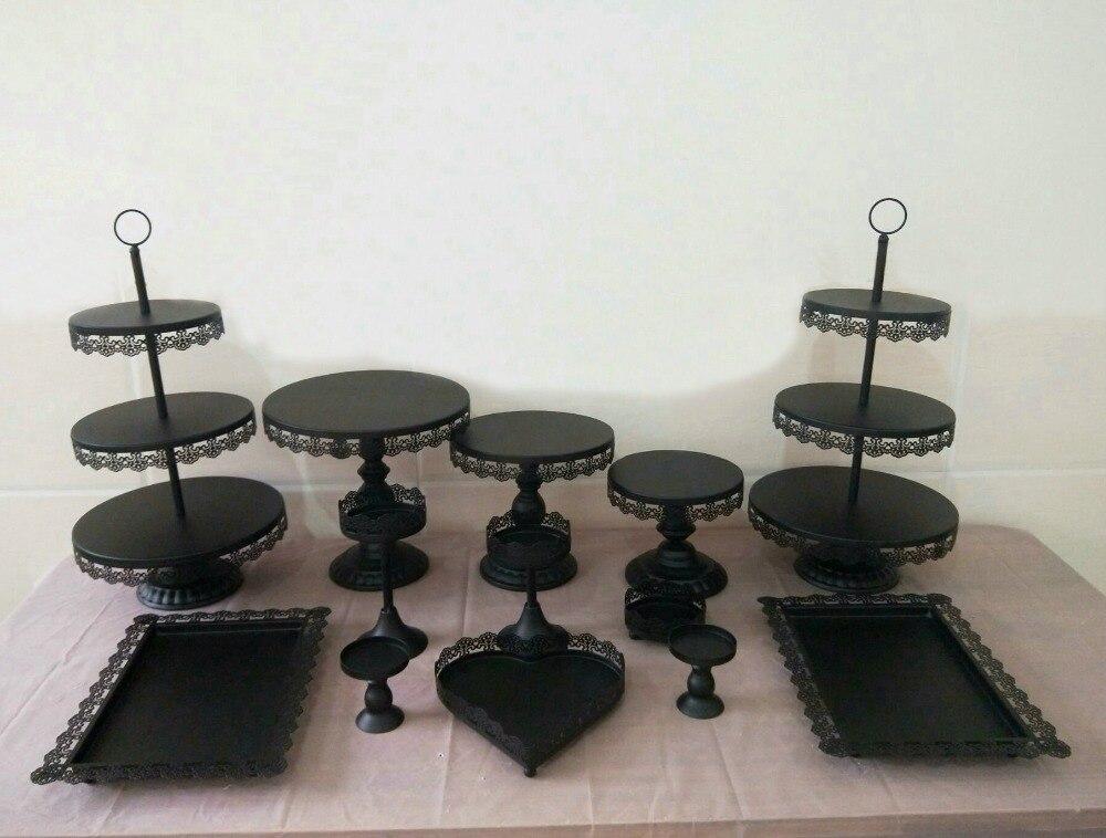7 pièces-13 pièces/ensemble cristal perle métal gâteau Stand Cupcake Dessert servant support étagères fête mariage Banquet Table décorations