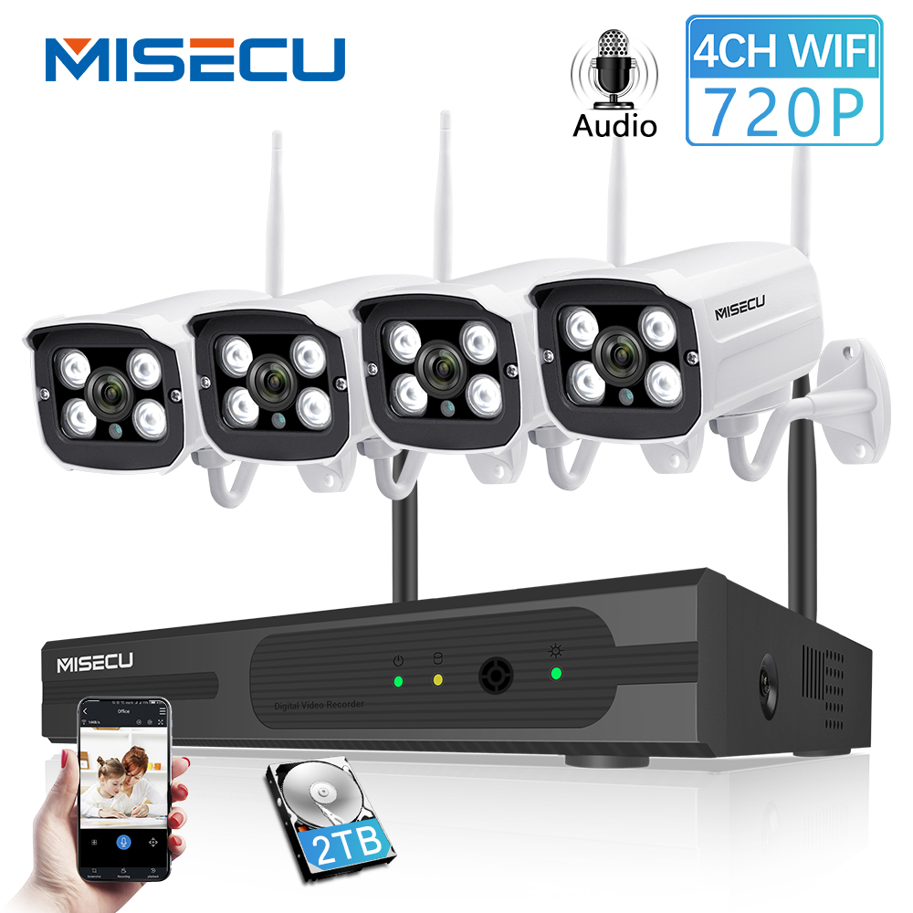 MISECU 4CH NVR Wireless CCTV System 720P HD WIFI IP Camera Audio Record Outdoor Waterproof Night