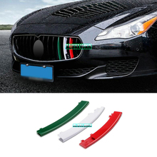 car-styling Front Grille Cover Decoration Trim Strips ABS For 2013 to 2016 maserati Quattroporte car Accessories automobiles 3PS