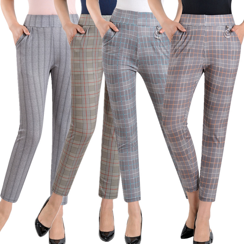 2019 Women plus size Plaid Pants Ankle Length High Waist summer Fitness Trousers Plus Size 3XL 4XL 5XL streetwear-in Pants & Capris from Women's Clothing