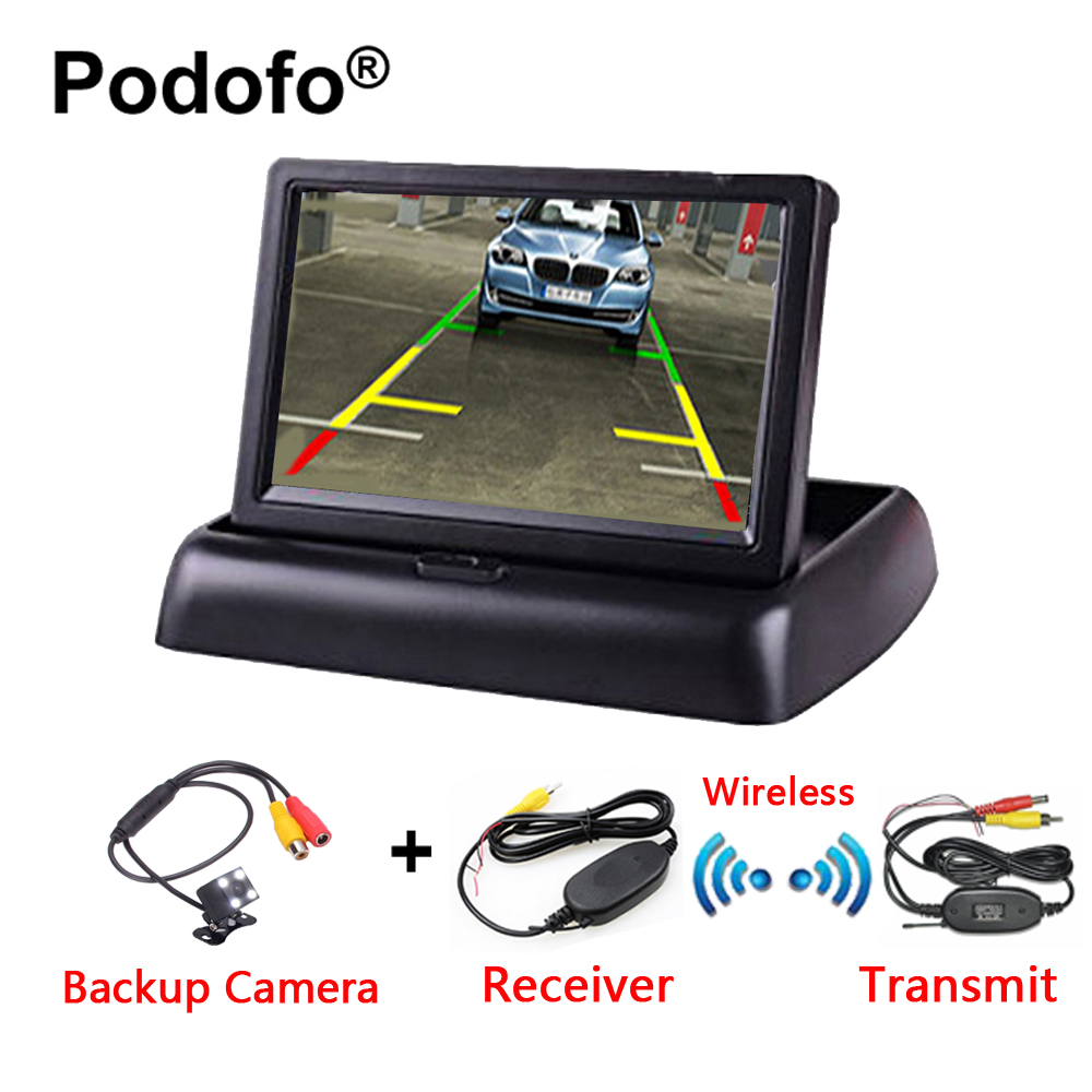 Podofo 3 in 1 Wireless Rear View Camera HD 4.3 Foldable Car Monitor with IR Night Vision Parking Reversing Camera Car-StylingPodofo 3 in 1 Wireless Rear View Camera HD 4.3 Foldable Car Monitor with IR Night Vision Parking Reversing Camera Car-Styling