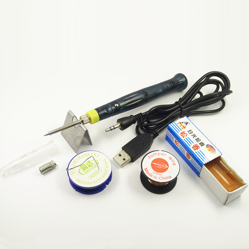 DGKS USB Electric Soldering Irons 6ps Tool Kit Mini USB Solder Welding Station Welder Heating Element Stand Scorcher Iron