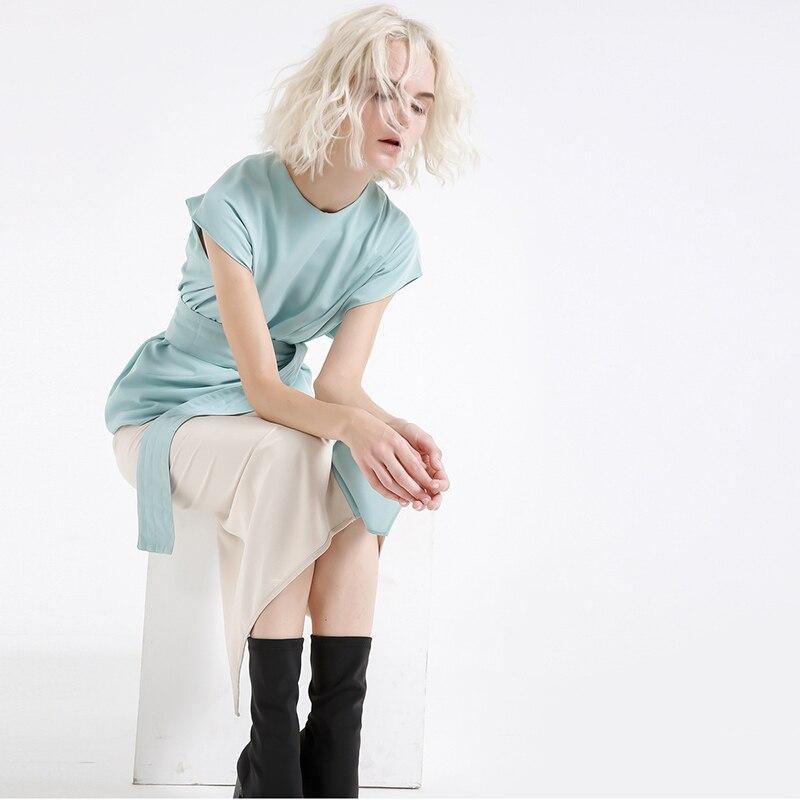 New Fashion Style Blue Waist Sashes Hit Color Ruffles Stitch Loose Dress Fashion Nova Clothing