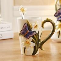 Keramik schmetterling tee kaffeetassen emaille painted porzellan milch tasse wasser tasse trinken becher orchidee becher geschenk