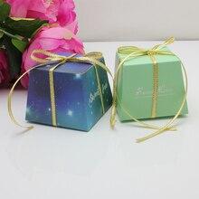 Hot New 100pcs/lot Tiffle Blue Trapezium Candy Box Marriage Gift Bag Fold Small Starry Wedding Party Birthday Decor