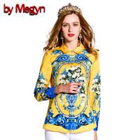 Beauty Yellow 2017 Spring Women Shirts Long Sleeve Floral Print Blusa Casual Loose Blouse Fashion Tops