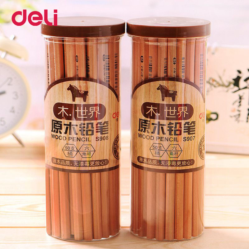 Deli Standard Pencils HB 50Pcs/Box Sketching Pencils Set Drawing Wooden 2B Pens Writing Pencils For Student Office Stationary kitdix13058unv20630 value kit ticonderoga groove pencils dix13058 and universal perforated edge writing pad unv20630